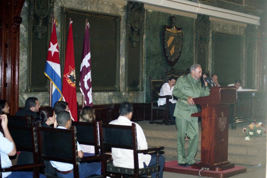 Homenaje a Fidel Castro en la primera Universidad cubana