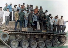 On one of the captured U.S. tanks