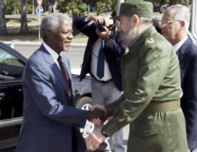 Recepção oficial ao secretário-geral da ONU por Fidel. Photo: Arnaldo Santos