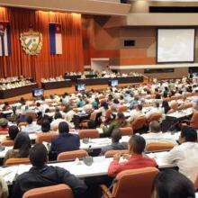 Parlamento Cubano reunido en la Asamblea Nacional