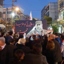 Un mural con una imagen de Fidel Castro y un saludo a Cuba presidió la plaza central en el Líbano