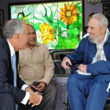 Fidel y el Excelentísimo Señor Marcelo Rebelo de Sousa, Presidente de Portugal. Foto: Estudios Revolución