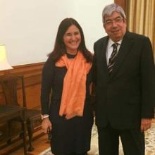 Embajadora cubana en Portugal, Johana Tablada y Eduardo Ferro, presidente de la Asamblea de la República Portuguesa