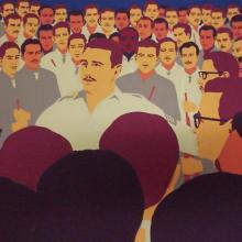 Poco antes de tomar los automóviles, Fidel les habla a sus compañeros en la Granjita de Siboney. Ilustración: René Mederos
