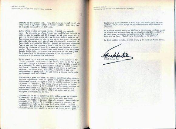 La carta se encuentra en el libro del ex presidente mexicano Carlos Salinas de Gortari, titulado Muros, Puentes y Litorales. Relación entre México, Cuba y Estados Unidos