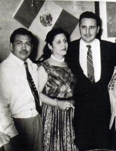 Arsacio Vanegas, María Antonia González Rodríguez y Fidel Castro Ruz.