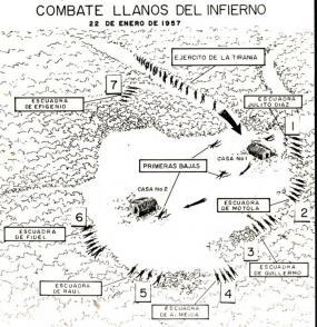 Croquis del Combate Llanos del Infierno, 22 de enero de 1957.