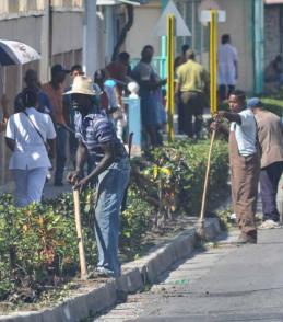 Trabajadores del servicio de Comunales embellecen la avenida por donde pasará la caravana con las cenizas de Fidel