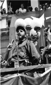 Fidel pronuncia un discurso en el parque Leoncio Vidal de Santa Clara, el 6 de enero de 1959.