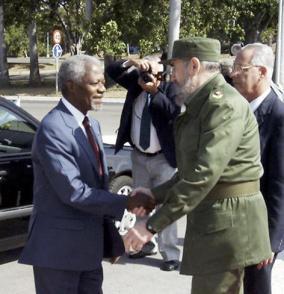Accueil officiel du Secrétaire général de l'ONU par Fidel Photo: Arnaldo Santos