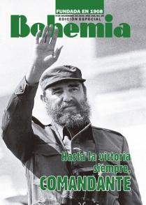 Portada de la edición especial de la Revista Bohemia diseñada por Víctor M. Falcón en tributo al Comandante en Jefe Fidel Castro, 2016.