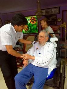 Fidel Castro junto a Evo Morales en Cuba