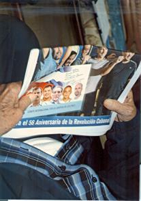 Fidel Castro y Randy Perdomo, presidente de la FEU de la Universidad de la Habana