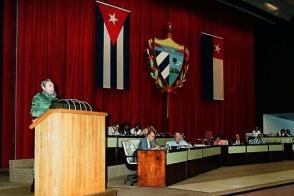 Fidel pronuncia palabras en la Clausura del X Período Ordinario de Sesiones de la III Legislatura de la Asamblea Nacional del Poder Popular, el 27 de diciembre de 1991.