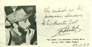Saludo que Fidel firmara a Graupera, el cual iba dirigido a los pinareños.
