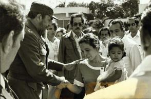 Fidel Castro durante el accidente de 1985