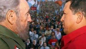 Fidel y Chávez en masivo acto en Argentina. Foto: Archivo