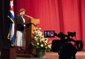 Ministra de Educación, Ena Elsa Velazquez, pronuncia palabras en Pedagogía 2017