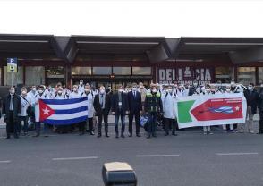 Médecins cubains arrivant en Italie pour combattre la Covid-19. Photo:RT Photo: Internet