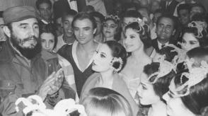 Fidel talks with prima ballerina Alicia Alonso, and other members of the National Ballet of Cuba, after a performance of Giselle in the Theater of the Cuban Workers' Federation headquarters.