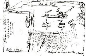 Croquis del Combate de La Plata, Sierra Maestra, el 17 de enero 1957, elaborado por Raúl Castro Ruz pocos días después.