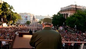Fidel Castro en la Universidad de La Habana. Foto: Roberto Chile.
