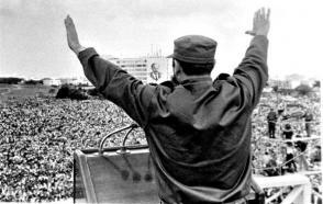 Fidel Castro en la Plaza de la Revolución