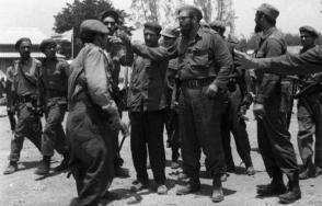 Fidel dialoga con los milicianos e imparte las órdenes de combate en Playa Girón, el 17 de abril de 1961. Foto: Sitio Fidel Soldado de las Ideas.