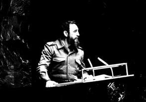 Fidel Castro en la sede de las naciones unidas, el 12 de octubre 1979.