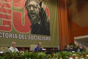 Comandante en Jefe Fidel Castro at the close of the 7th Congress of the Communist Party of Cuba, alongside Army General Raúl Castro, José Ramón Machado Ventura, and Miguel Díaz-Canel Bermúdez. Photo: Estudio Revolución