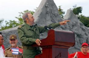 El Comandante en Jefe Fidel Castro Ruz, en el acto central por el aniversario 53 del Asalto a los cuarteles Moncada y Carlos Manuel de Céspedes en la provincia de Granma. Foto: Jorge Luis González