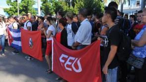 FEU... Al acto nacional de nuevos ingresos a la FEU, asistió una amplia representación de estudiantes de las universidades de Cienfuegos.