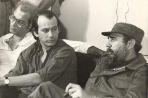 Silvio Rodríguez, Vicente Feliú y Fidel en Casa de las Américas.