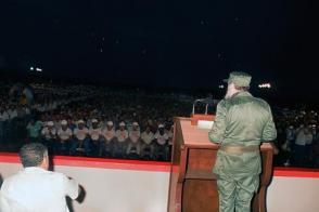 Intervención de Fidel en la inauguración del aeropuerto de Varadero Juan Gualberto Gómez, el 25 de septiembre de 1989. Foto: Estudios Revolución