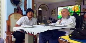 Fidel Castro y Evo Morales en Cuba