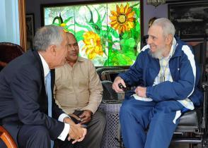 Fidel Castro y el Presidente de Portugal, Marcelo Rebelo