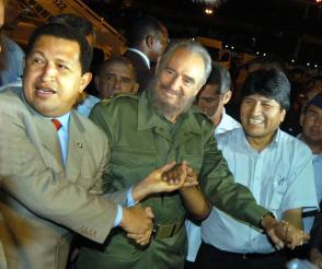 Fidel Castro, Hugo Chávez y Evo Morales en el Primer Aniversario del ALBA