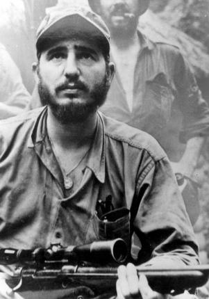 In the Sierra Maestra. The photo was published in the February 17, 1957 edition of the American newspaper The New York Times which also ran an interview the journalist Herbert Matthews did with Fidel.